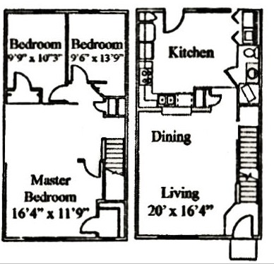 1,304 sq. ft. C floor plan