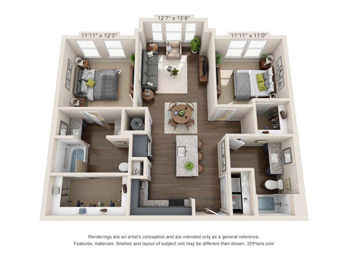 1,055 sq. ft. B1A floor plan