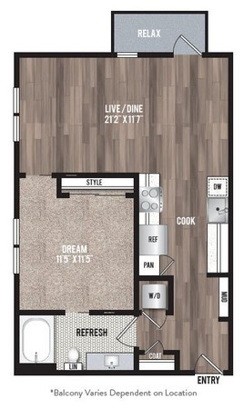 726 sq. ft. A2.1 floor plan