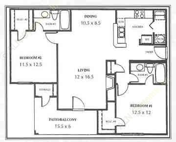 1,017 sq. ft. E floor plan