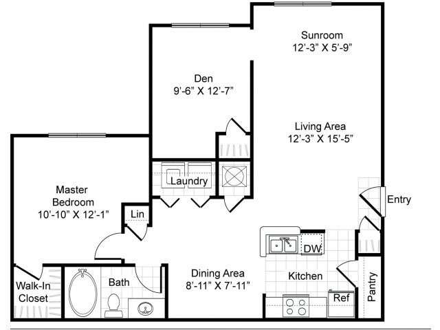 907 sq. ft. A2-Trimbrel floor plan