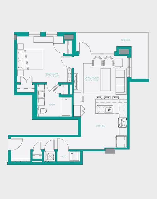 755 sq. ft. A4 floor plan