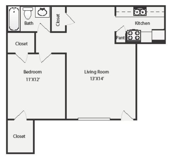 648 sq. ft. A4 floor plan