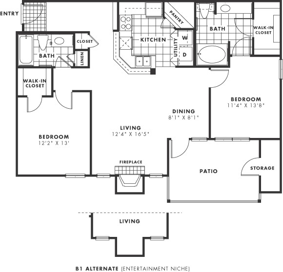 1,091 sq. ft. PH II floor plan