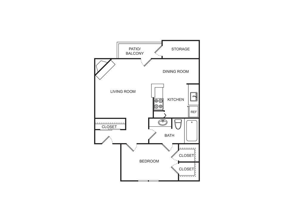 726 sq. ft. floor plan