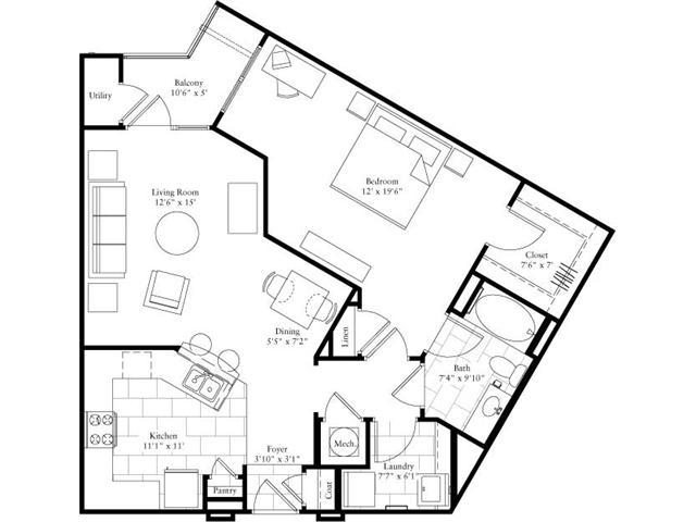 899 sq. ft. floor plan
