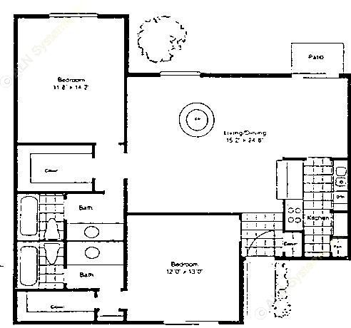 1,120 sq. ft. B-2/60 floor plan