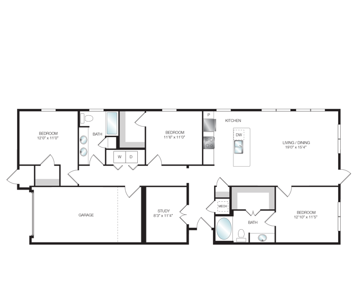 1,527 sq. ft. C1.1 floor plan