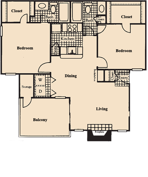 1,031 sq. ft. B7 floor plan