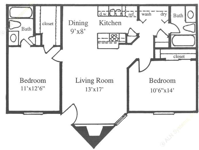 878 sq. ft. F floor plan
