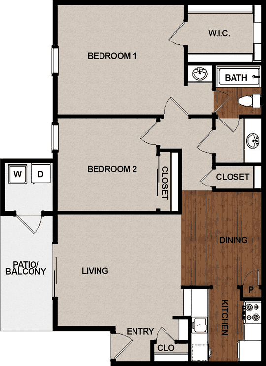902 sq. ft. D floor plan