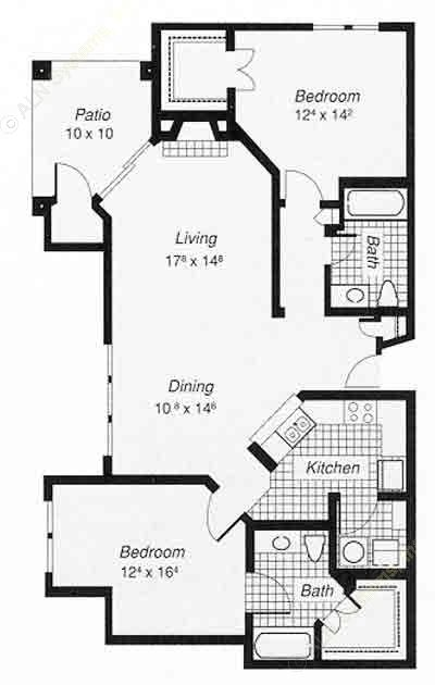 1,243 sq. ft. 2-B floor plan
