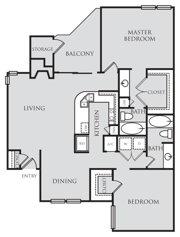 1,120 sq. ft. B2 floor plan