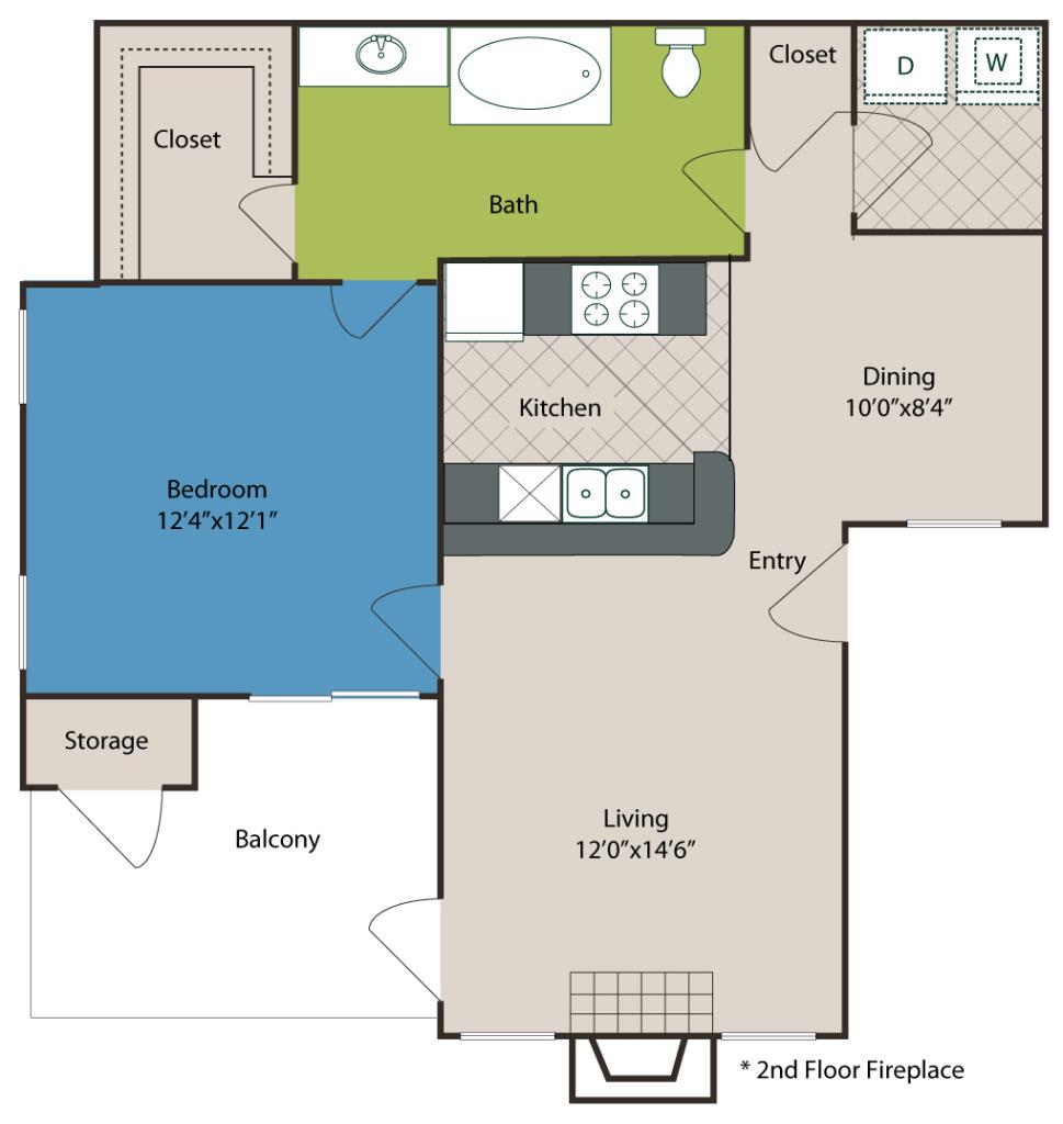 726 sq. ft. A3 floor plan
