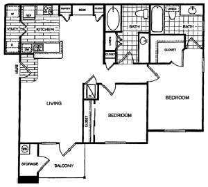 993 sq. ft. B2 floor plan