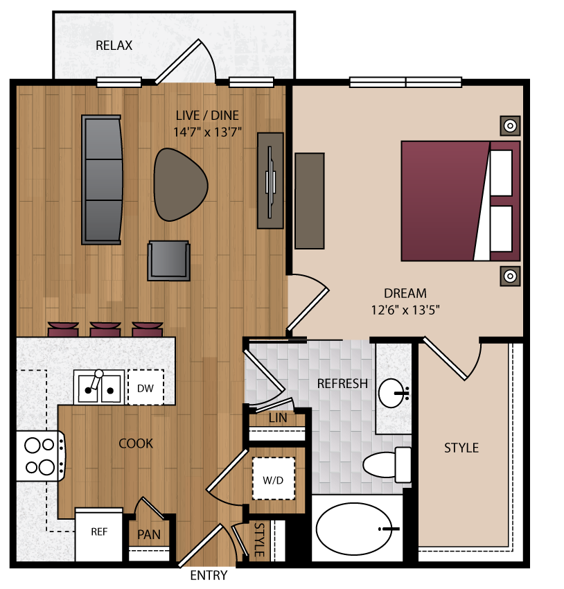 746 sq. ft. A2.2 floor plan