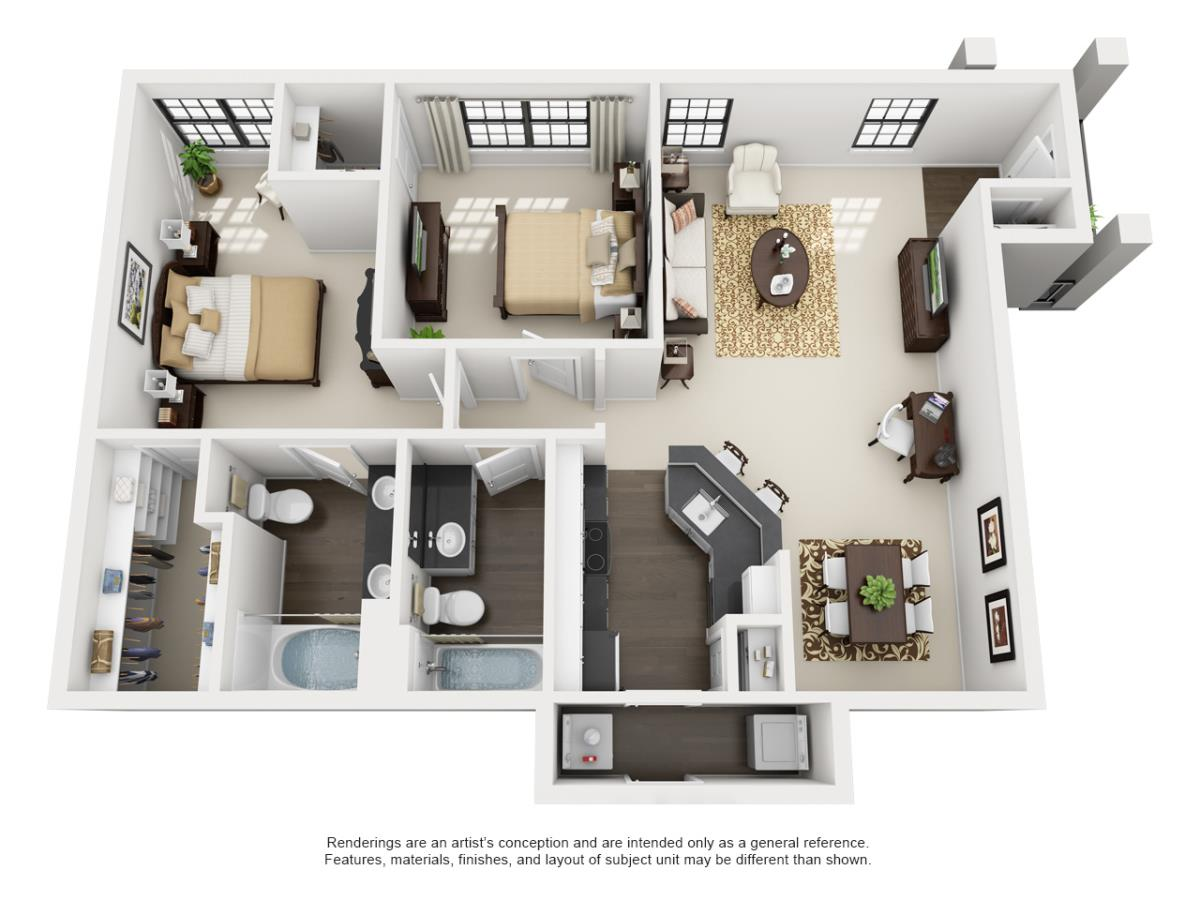 1,133 sq. ft. AUGUSTA floor plan