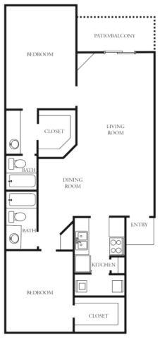 1,046 sq. ft. to 1,069 sq. ft. J floor plan