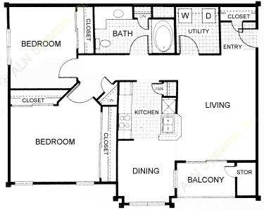 908 sq. ft. C floor plan