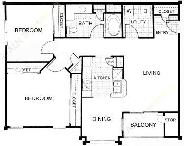 908 sq. ft. Cystine floor plan