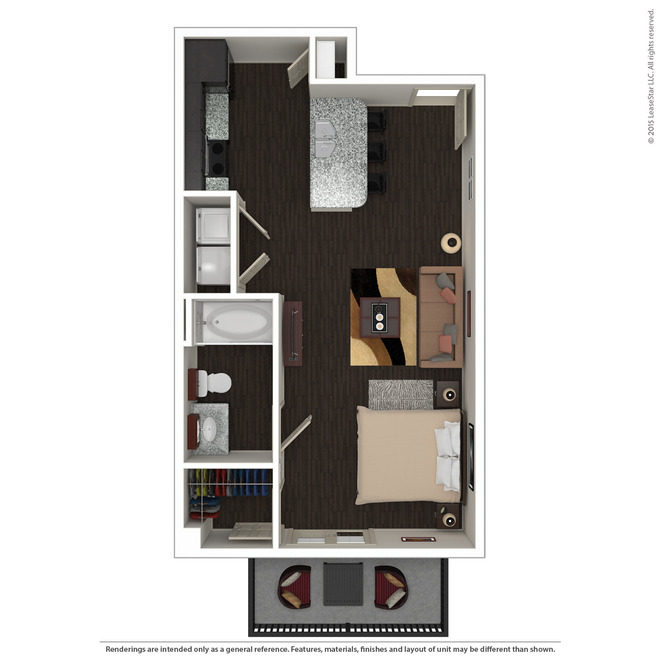 613 sq. ft. E3 floor plan