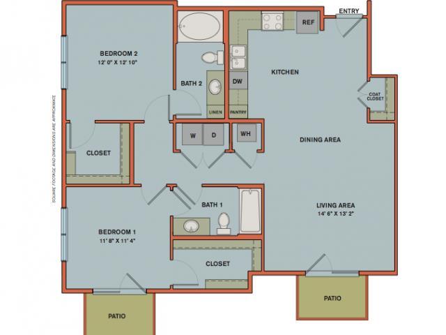 1,150 sq. ft. B4 floor plan