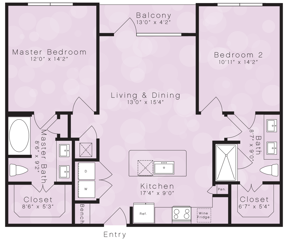 1,056 sq. ft. B1E floor plan