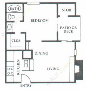 489 sq. ft. A2 floor plan