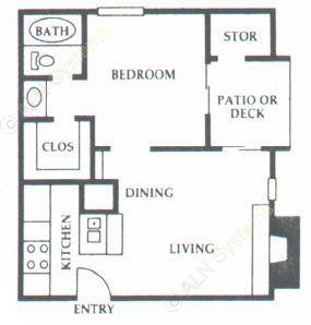 489 sq. ft. A2 floor plan