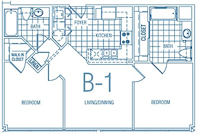 767 sq. ft. B1 30% floor plan