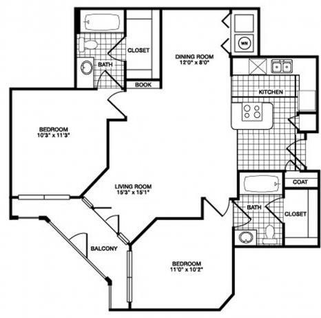 947 sq. ft. B3 floor plan