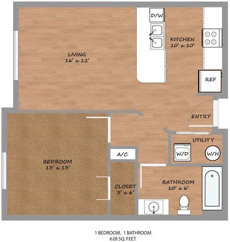 628 sq. ft. A1 floor plan