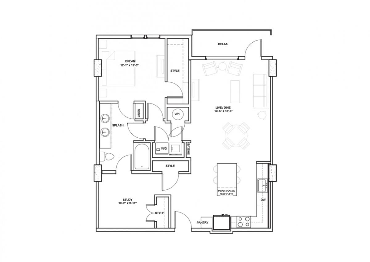 903 sq. ft. Jones floor plan