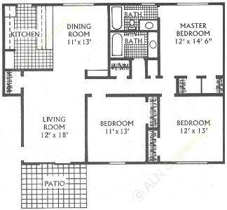 1,340 sq. ft. K floor plan