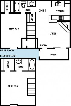 975 sq. ft. Cypress floor plan
