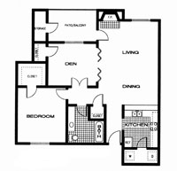 827 sq. ft. AD floor plan
