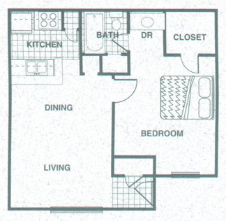 601 sq. ft. A1 floor plan