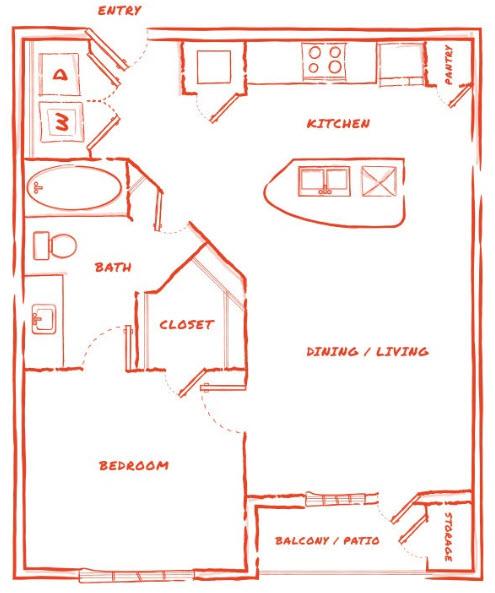 701 sq. ft. A2 floor plan