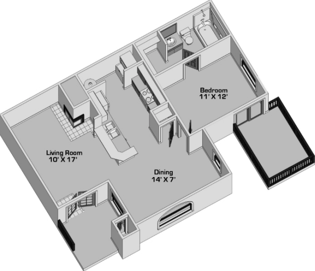 653 sq. ft. A floor plan