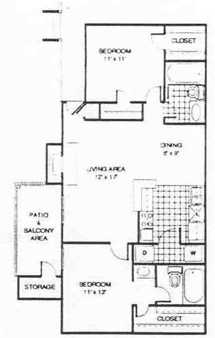 948 sq. ft. B1 floor plan