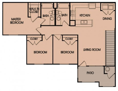 1,239 sq. ft. 60% floor plan