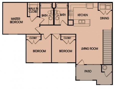 1,239 sq. ft. 60% floor plan
