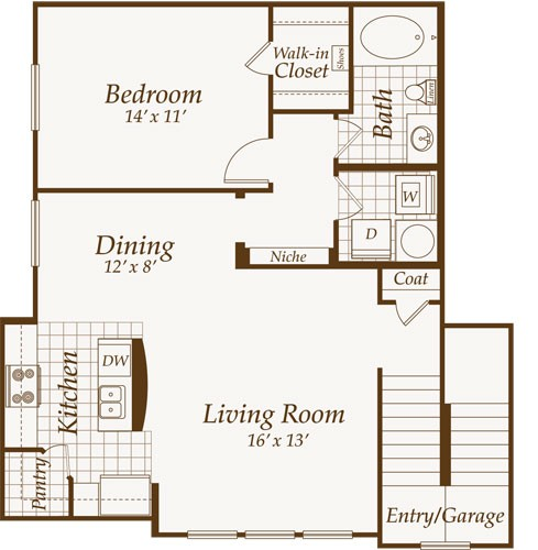 880 sq. ft. St. Charles-Up floor plan