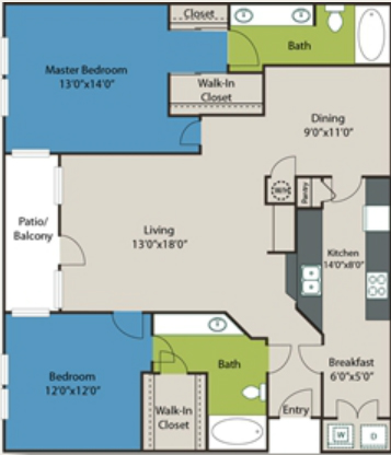 1,325 sq. ft. B1 floor plan