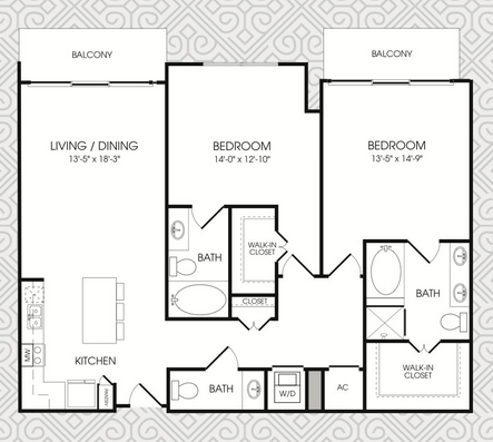 1,453 sq. ft. B14 floor plan