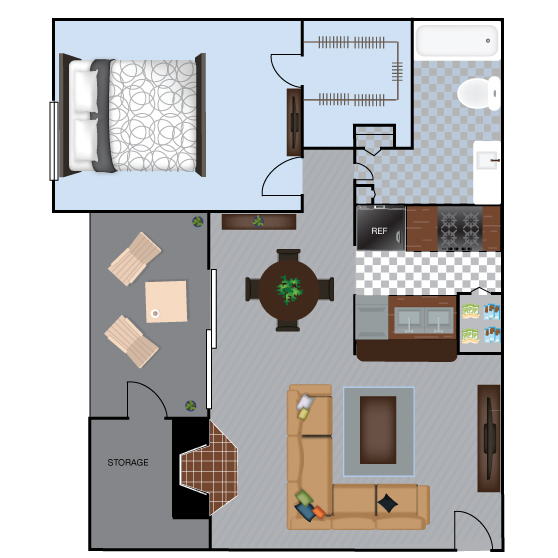664 sq. ft. A3 floor plan
