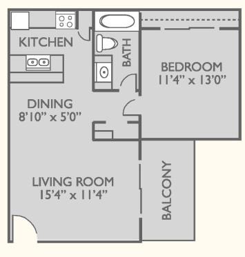 630 sq. ft. A-1 floor plan