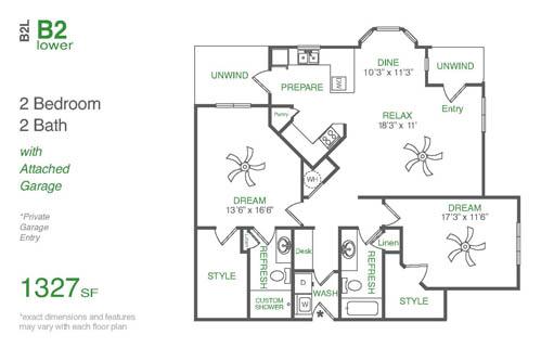 1,327 sq. ft. B2L floor plan