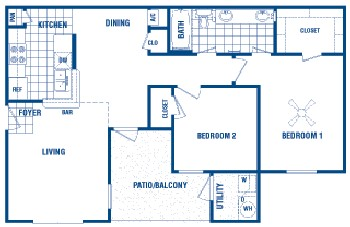 865 sq. ft. Brandt floor plan