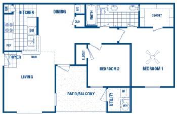 865 sq. ft. Brandt floor plan